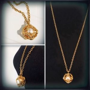 Joan Rivers Gold Tone Caged Faux Pearl Necklace